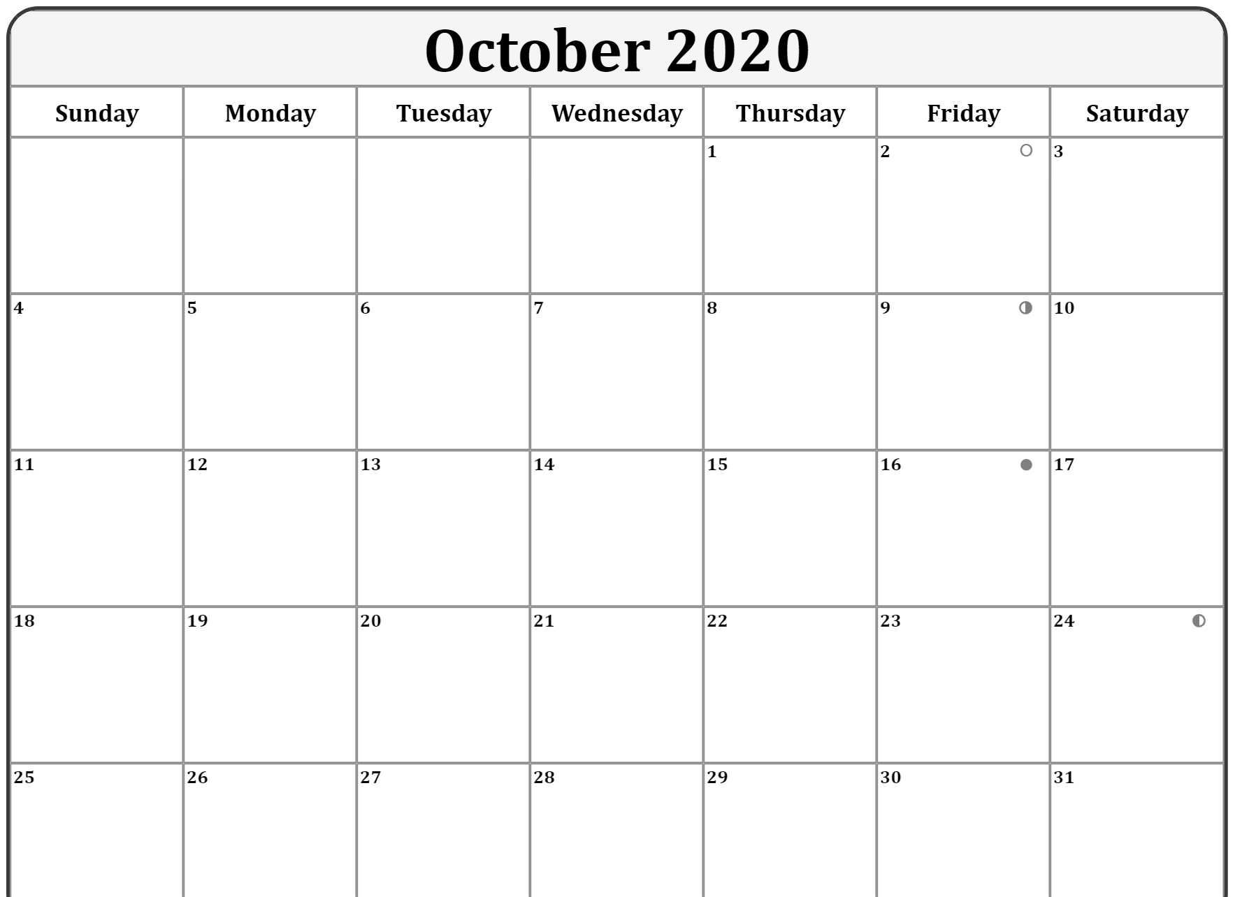 Moon Phases for October 2020 Template