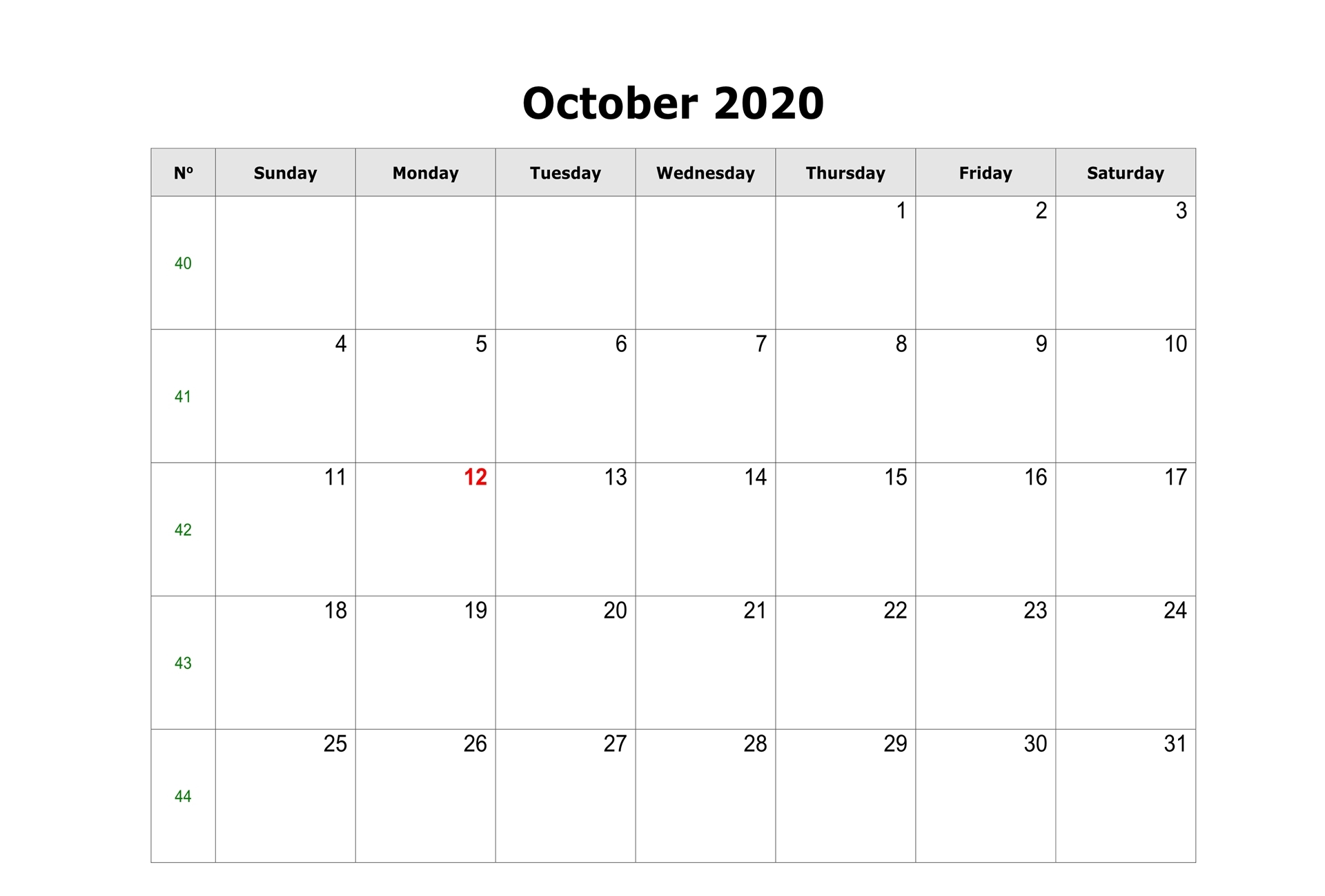 Monthly October 2020 Calendar Template