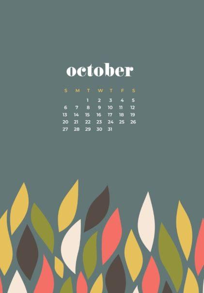 October 2020 Calendar iPhone Wallpaper