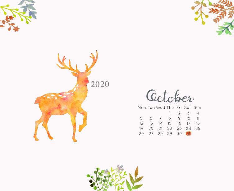 October 2020 Desktop Calendar Wallpaper