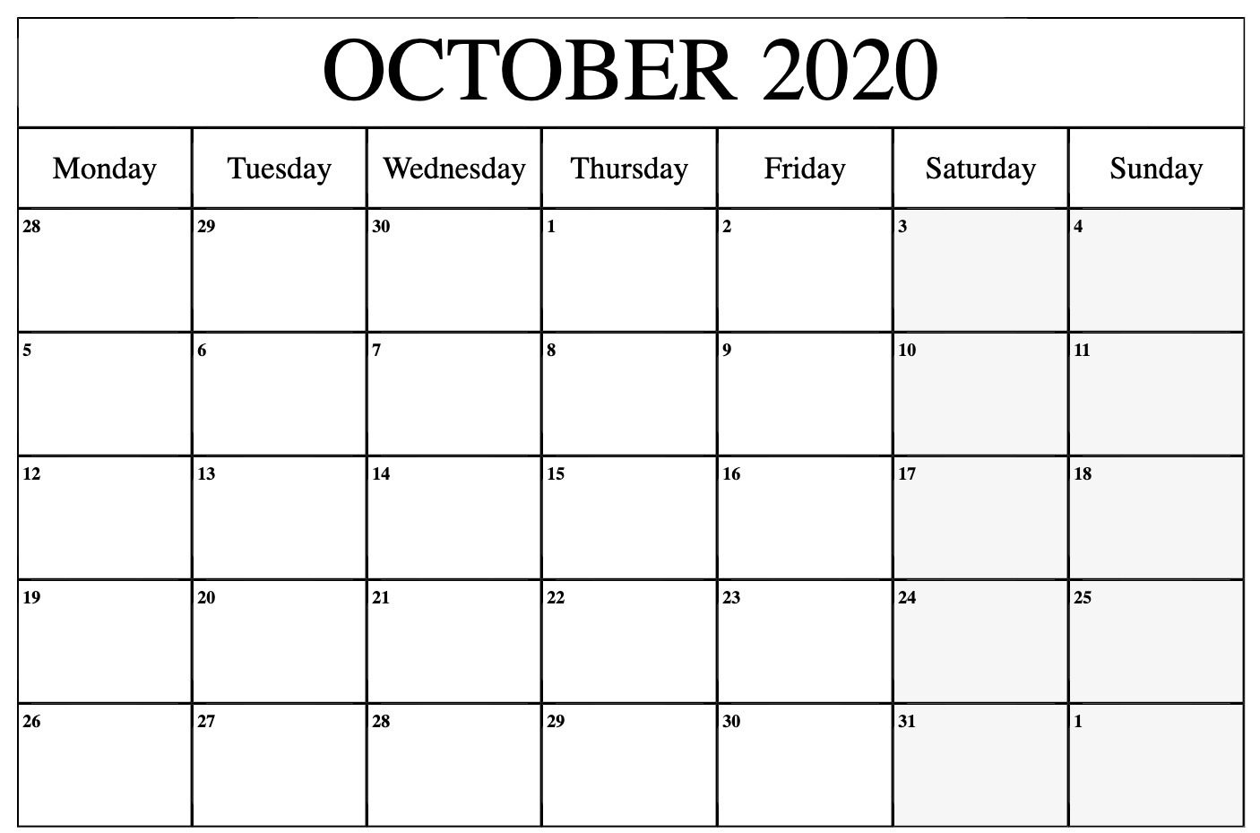 October 2020 Editable Calendar