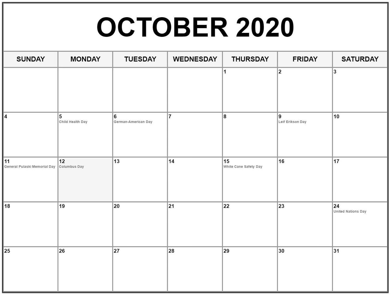 October 2020 Printable Calendar with Holidays