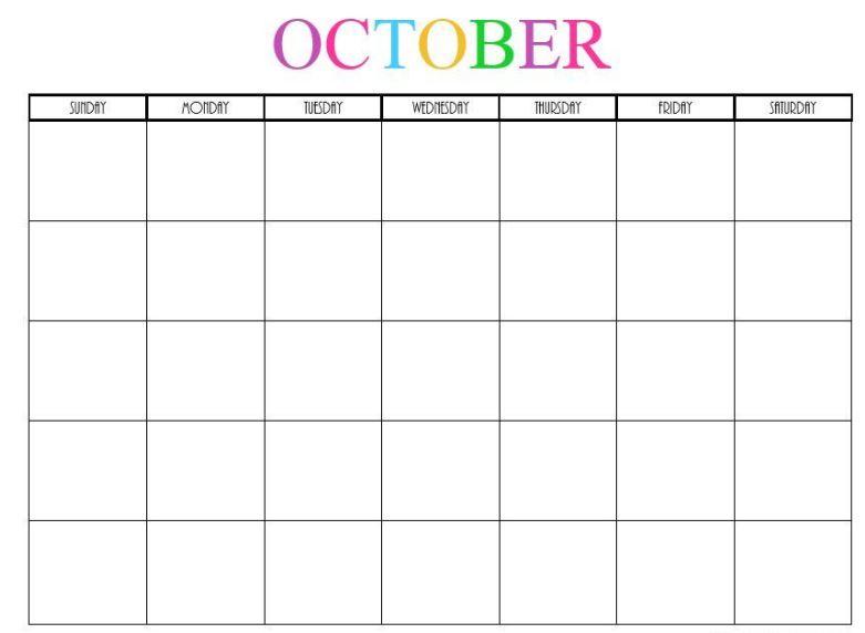 October Blank Calendar 2020 Cute