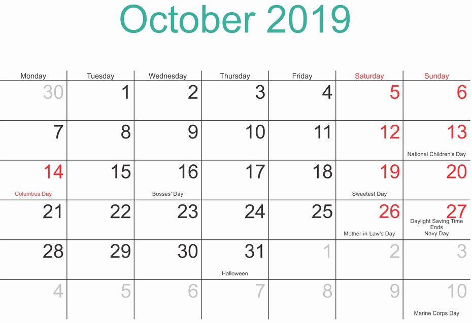 October Calendar 2019 Moon Phases
