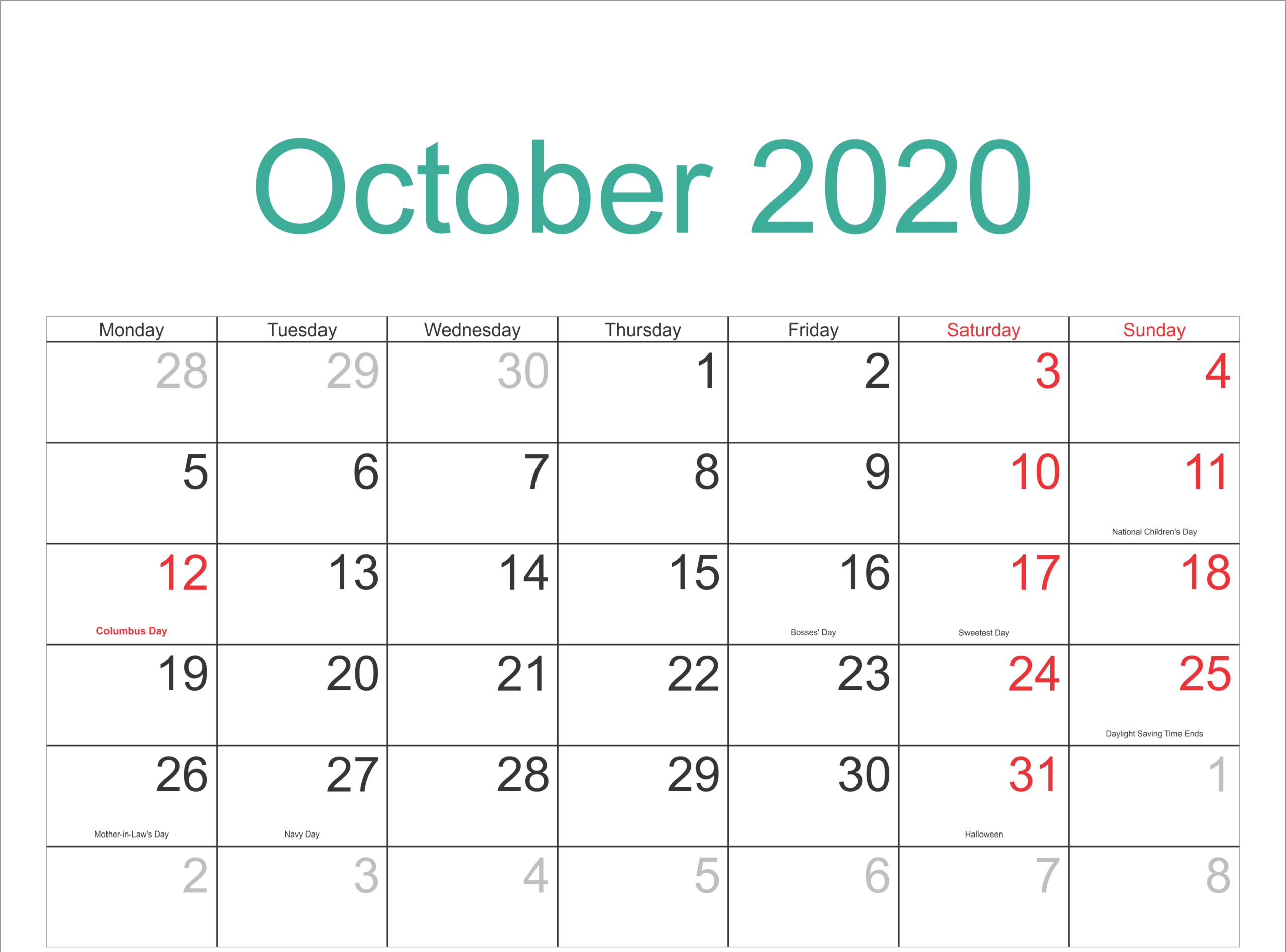 October Calendar 2020 Editable Template