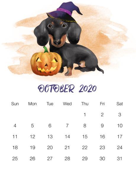 October Wall Calendar 2020