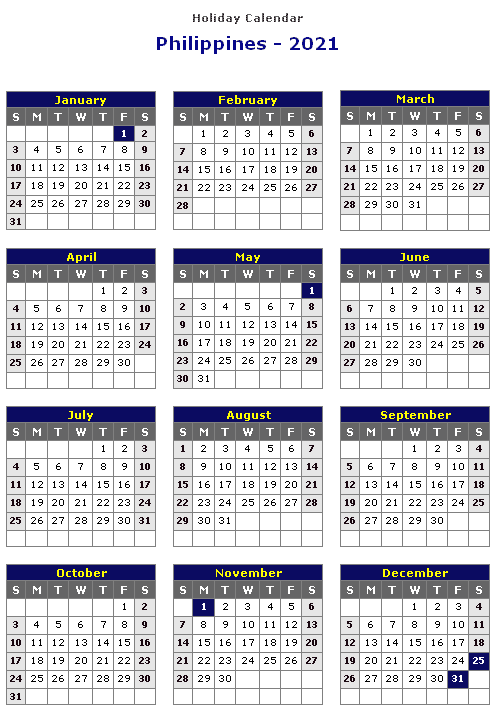 Philippines 2021 Printable Holiday Calendar