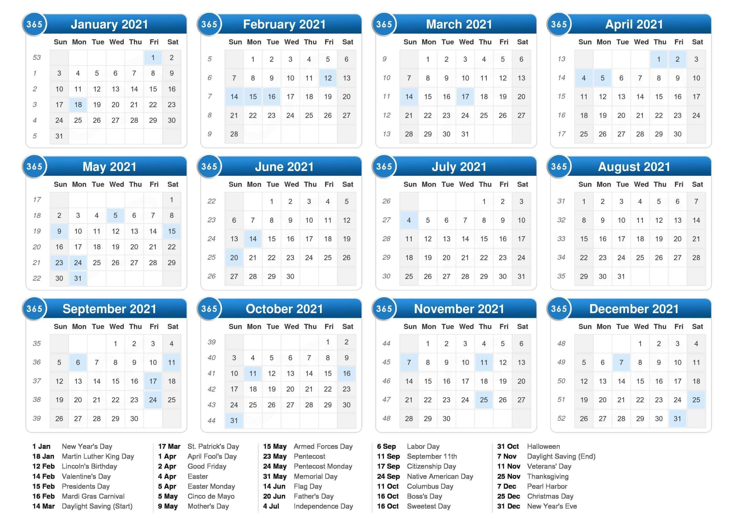 Printable 2021 Calendar Template with Holidays