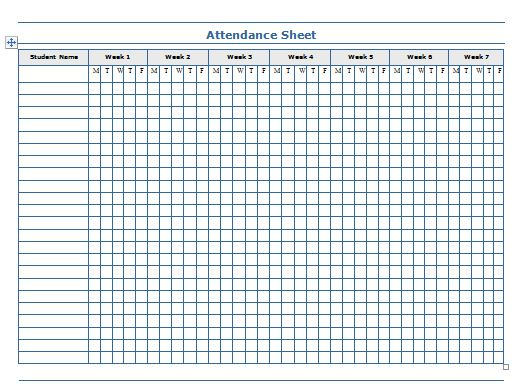 Printable Attendance Sheet Excel