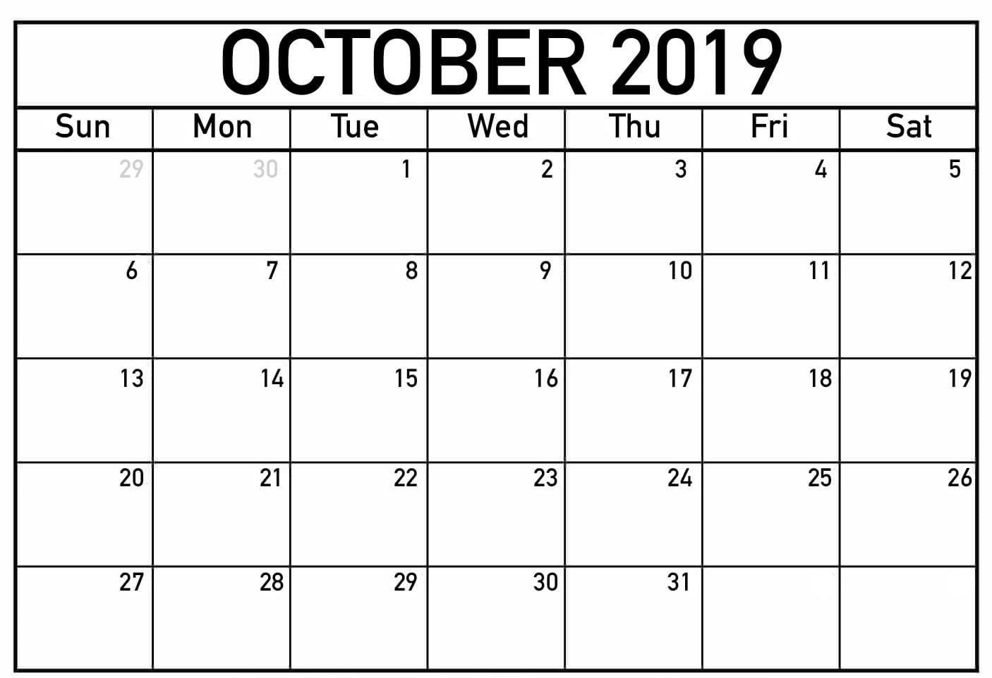 Printable Fillable Calendar For October 2019