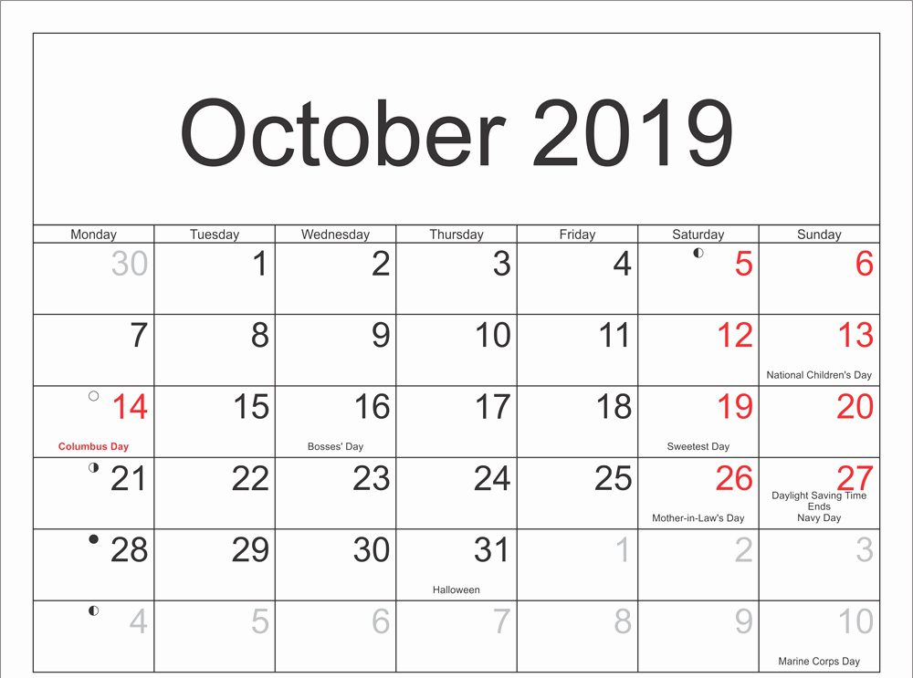 Printable October Calendar 2019 Moon Phases