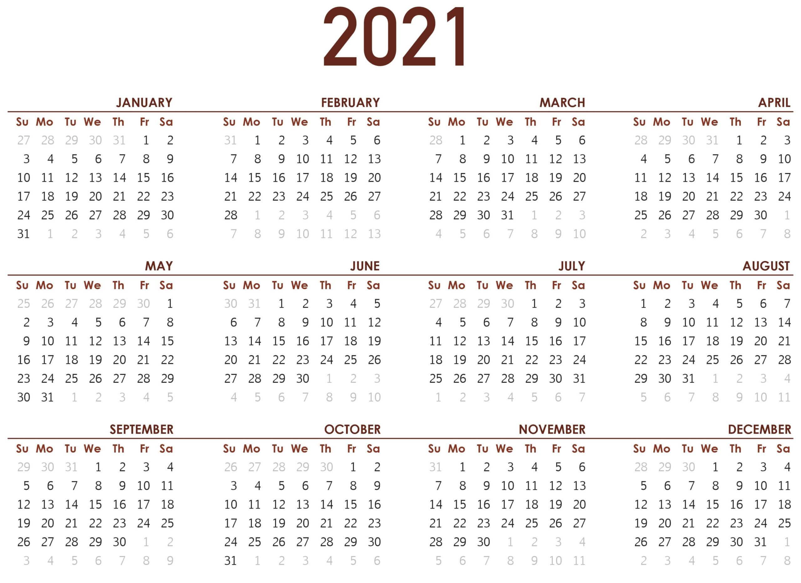 Printable Yearly 2021 Calendar Template
