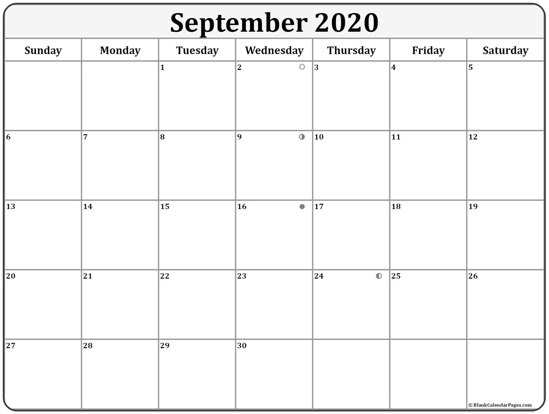 September 2020 Calendar Moon Phases