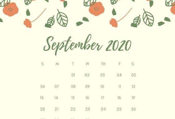 September 2020 Calendar Wallpaper for Desktop