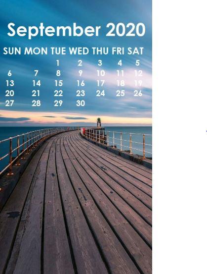 September 2020 Calendar iPhone Wallpaper