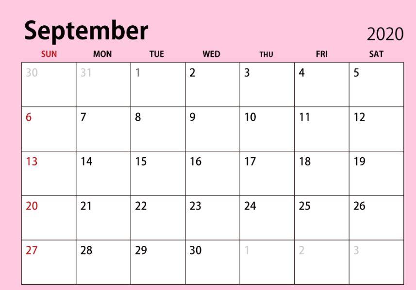 September 2020 Cute Calendar