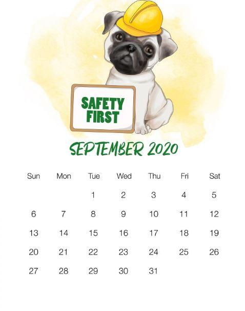 September 2020 Desk Calendar