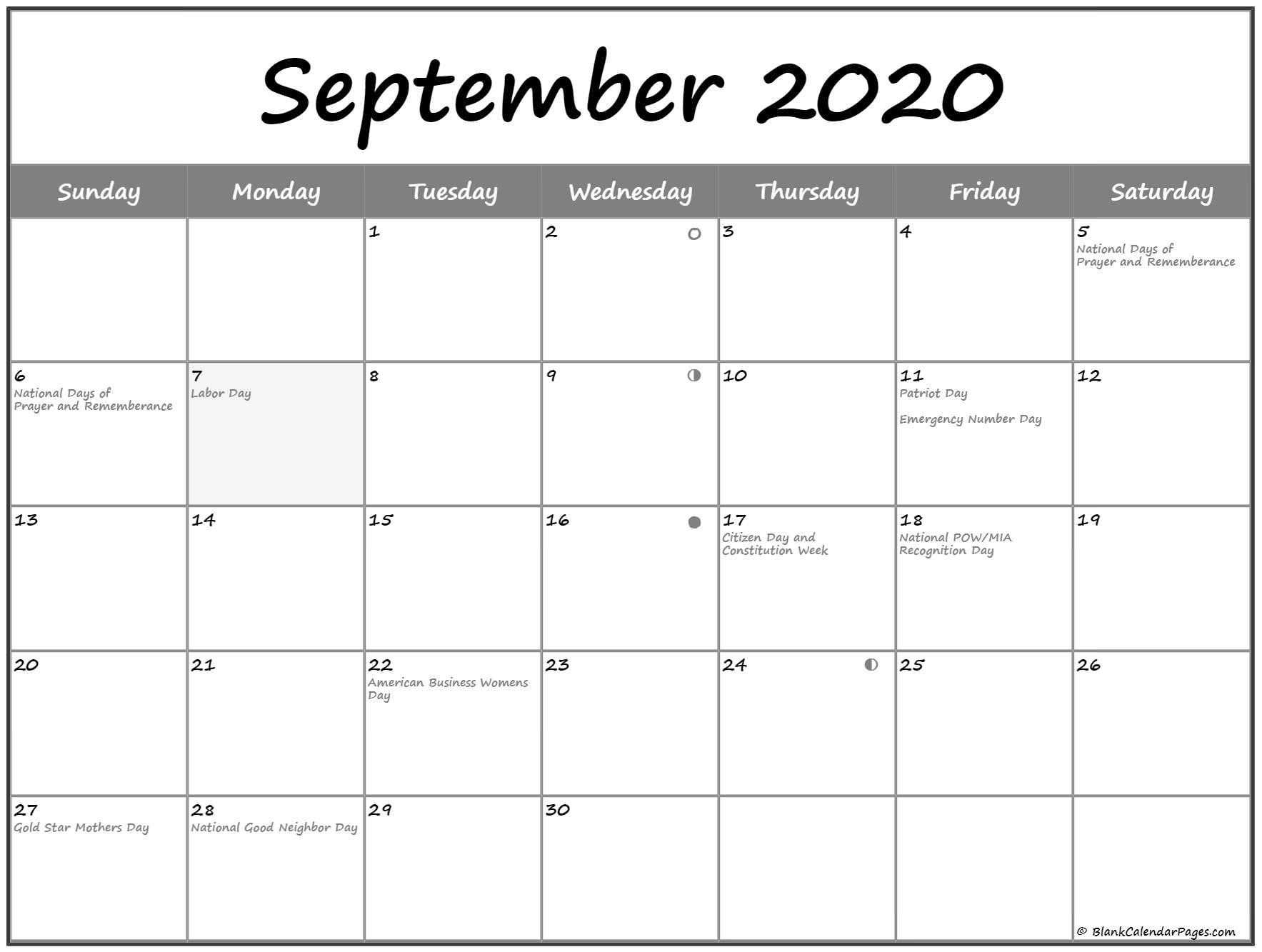 September 2020 Moon Calendar Phases