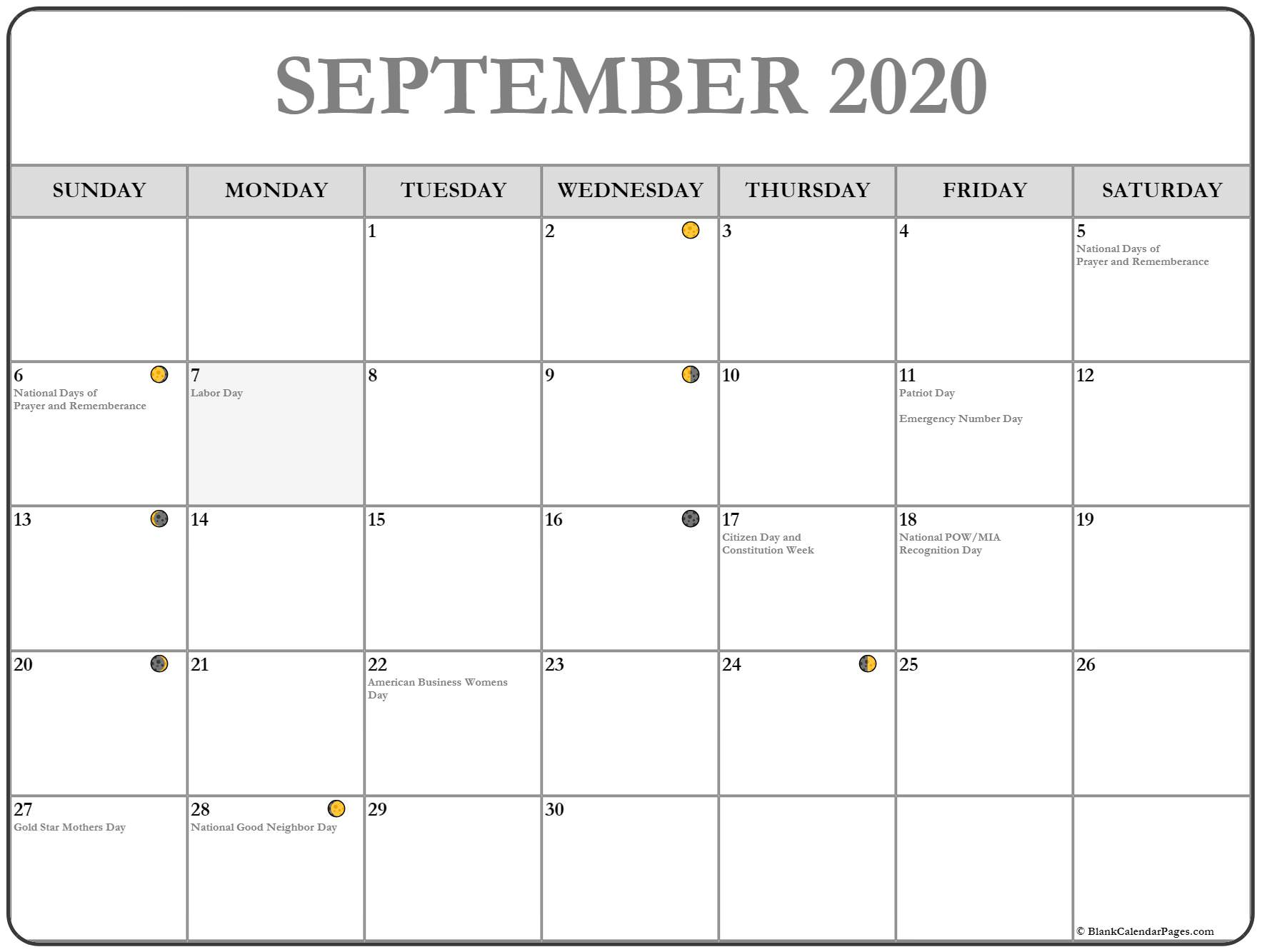 September 2020 Moon Calendar with Holidays