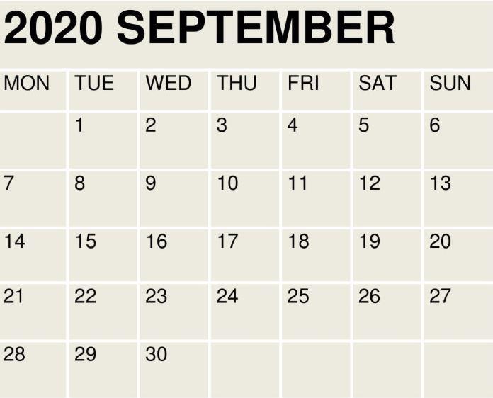 September 2020 Wall Calendar