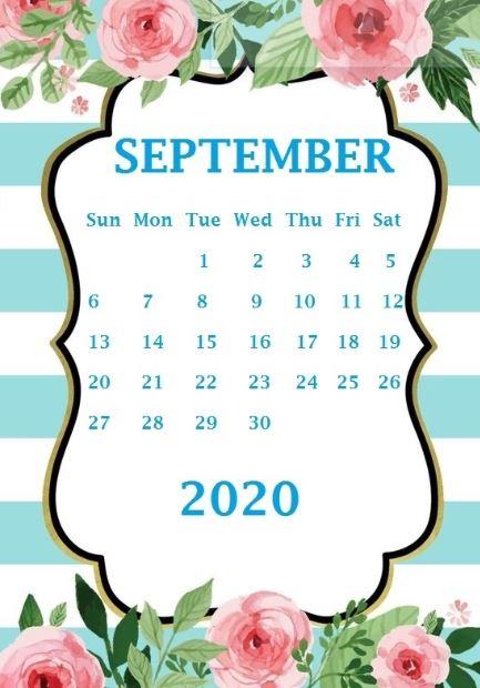 September 2020 iPhone Calendar