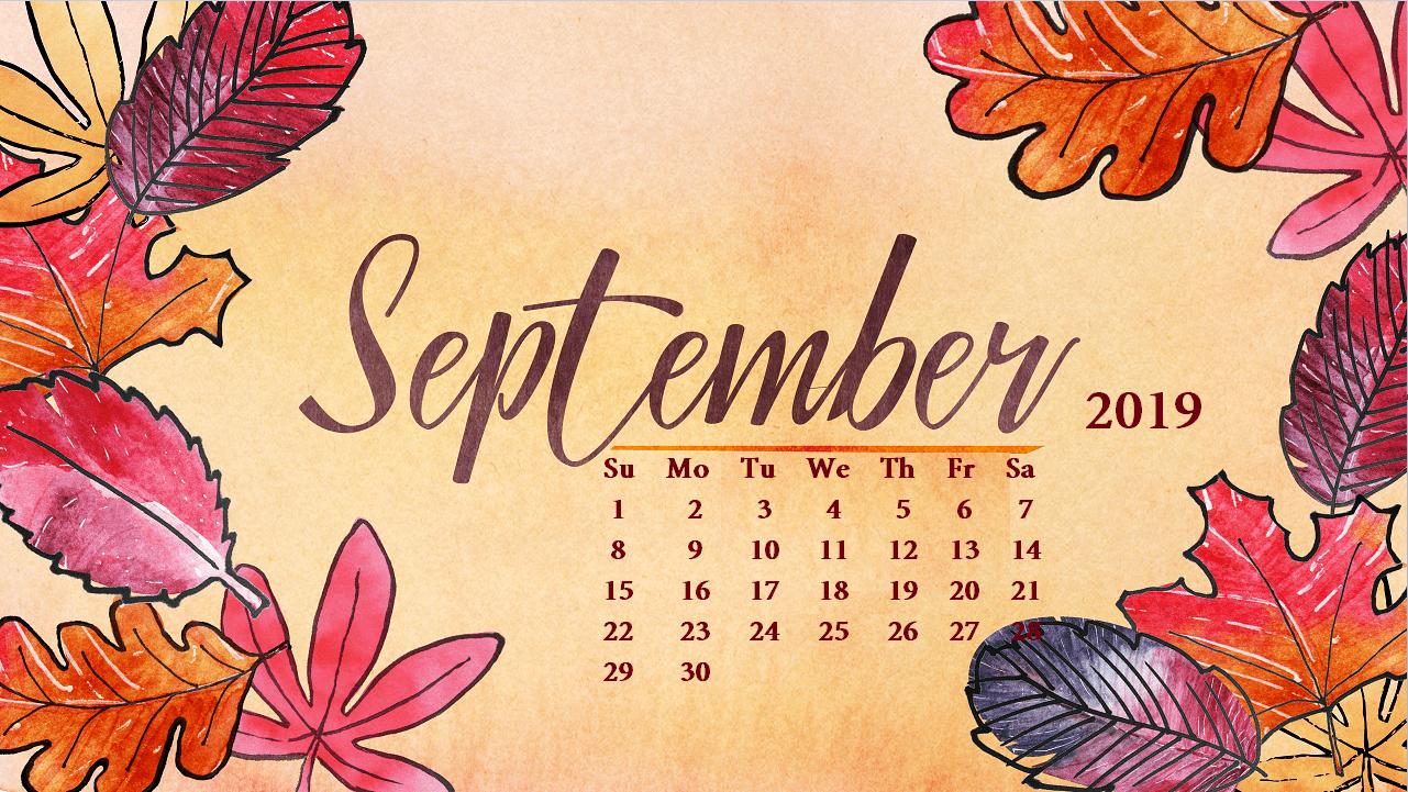September Calendar 2019 HD Wallpaper