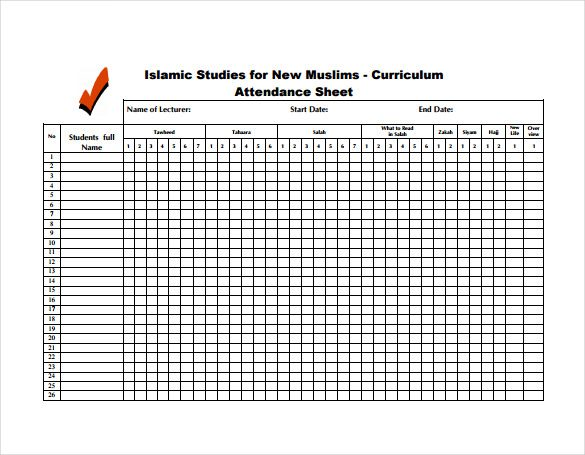 Student Attendance Sheet Free Pdf Template Download