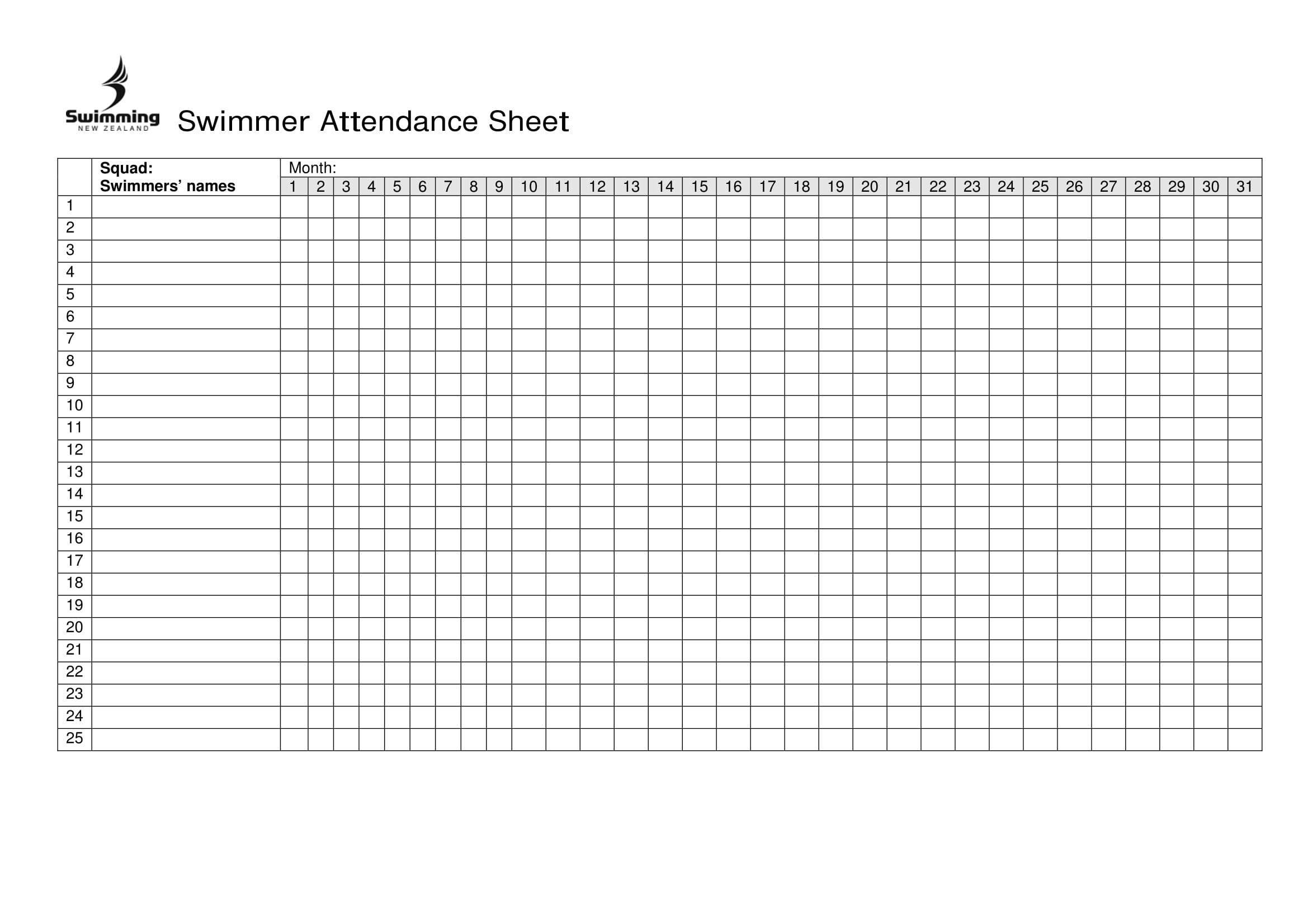 free printable attendance sheet excel pdf  word  template
