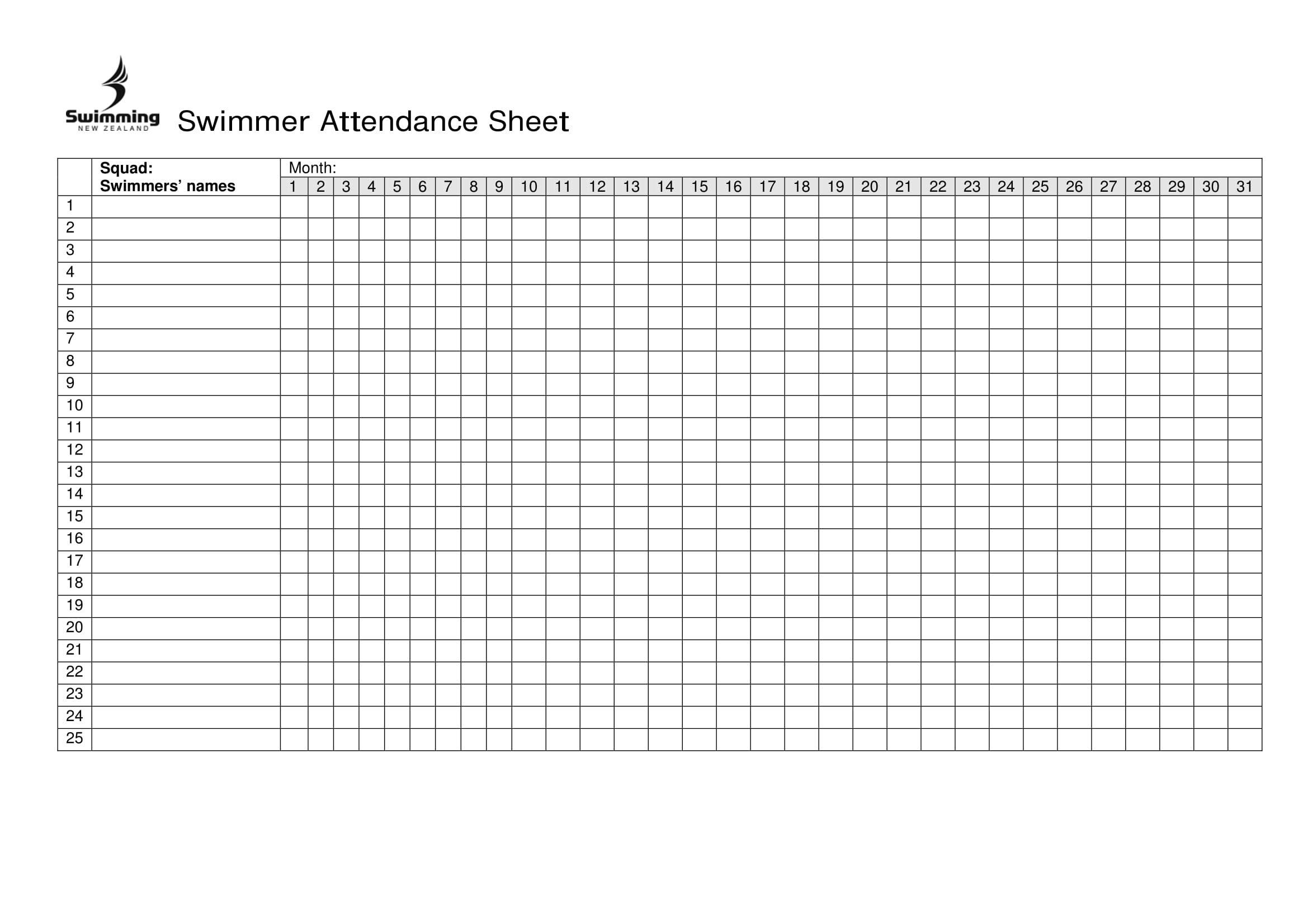 Swimmer Attendance Sheet Excel