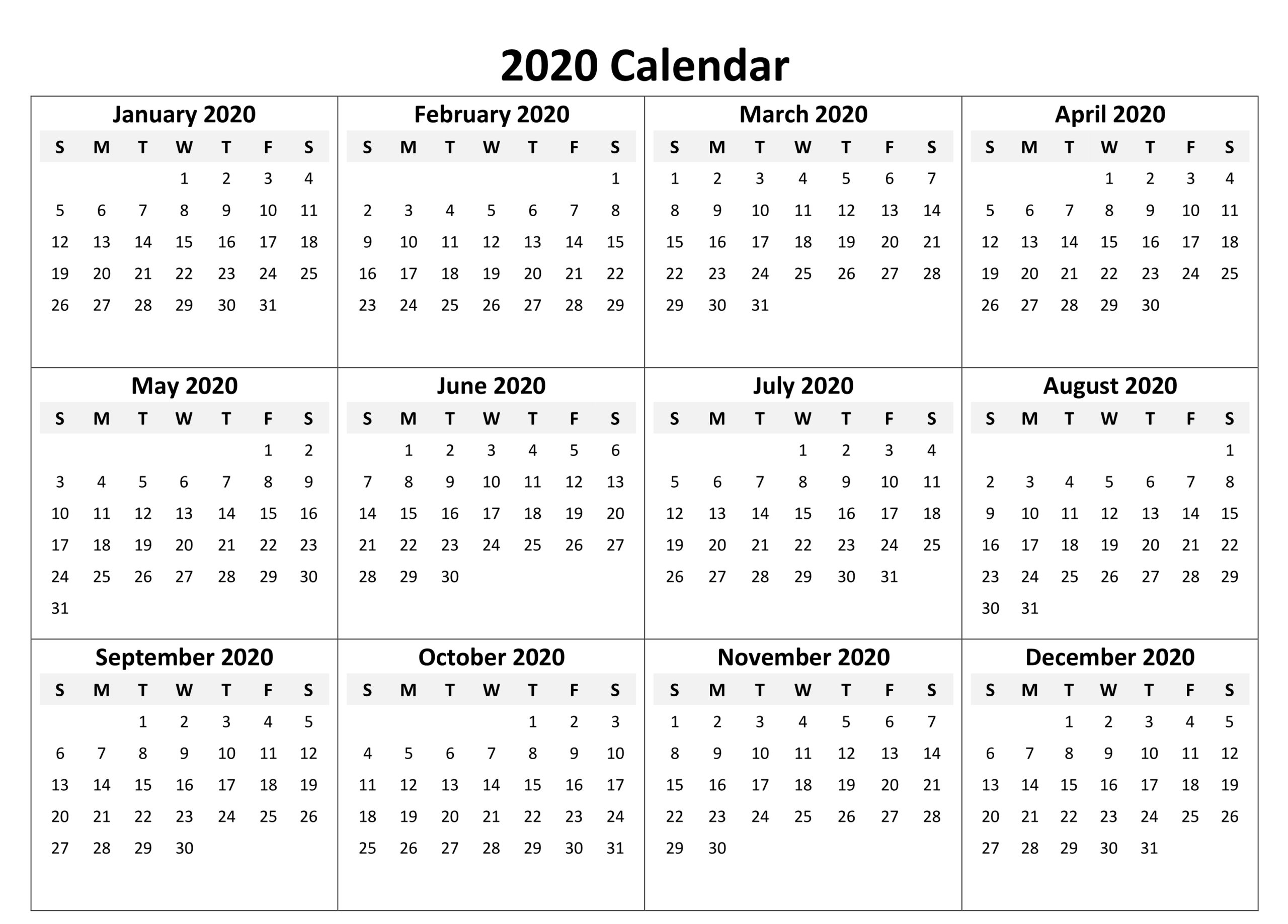 Yearly Calendar 2020 Free Download