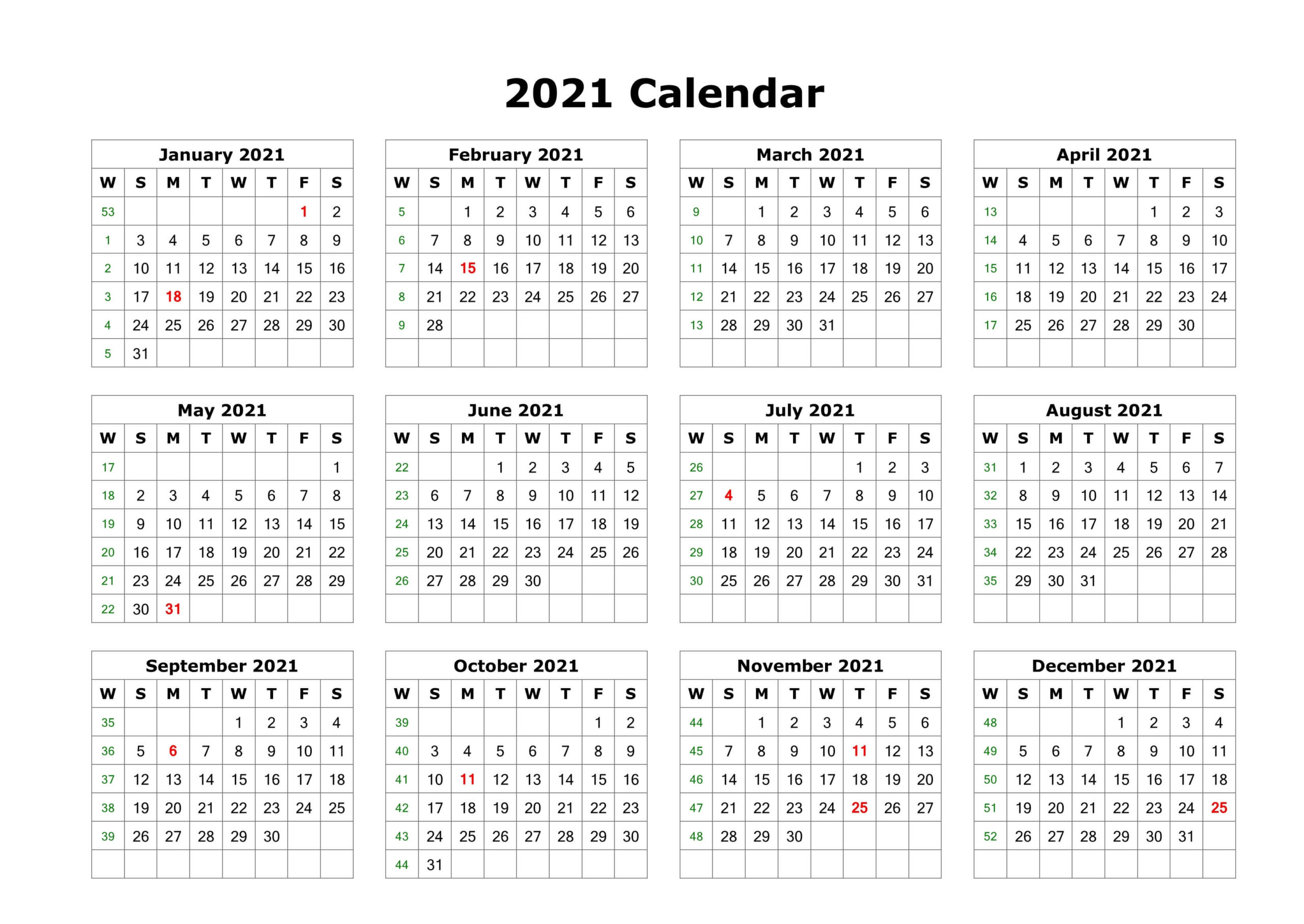 Yearly 2021 Calendar Blank Landscape to Print