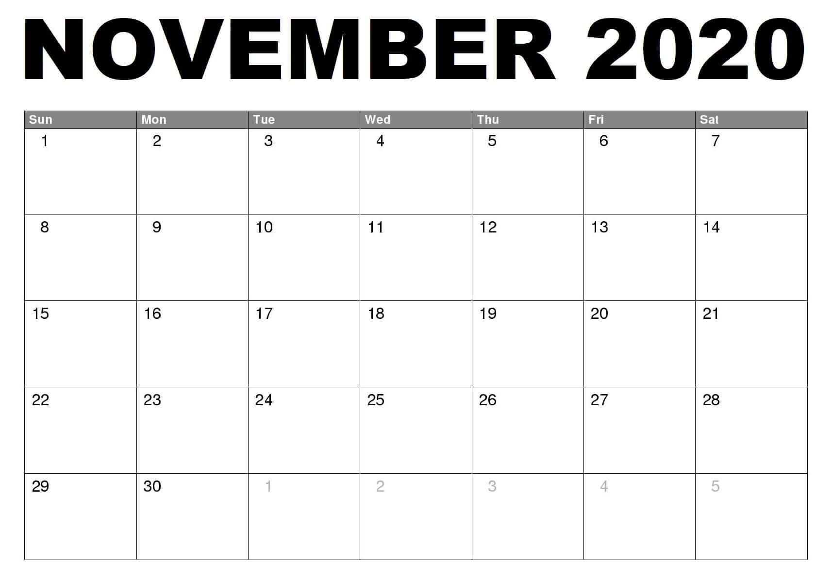 2020 Fillable November Calendar Printable
