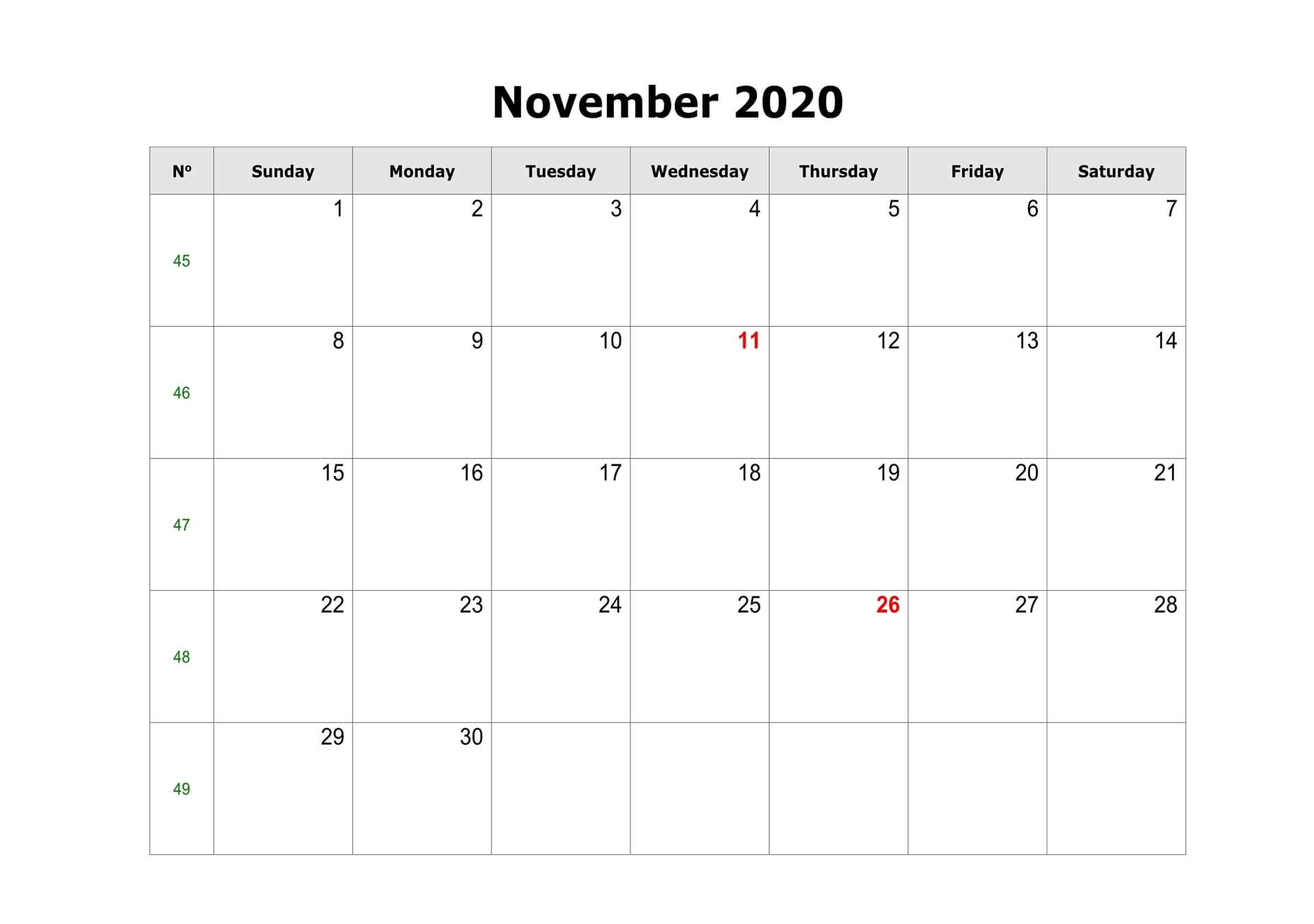 2020 Fillable November Calendar