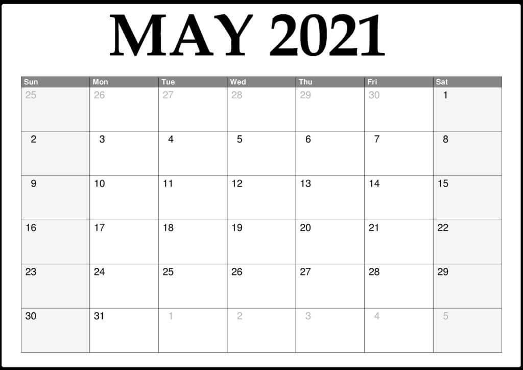 2021 May Calendar PDF