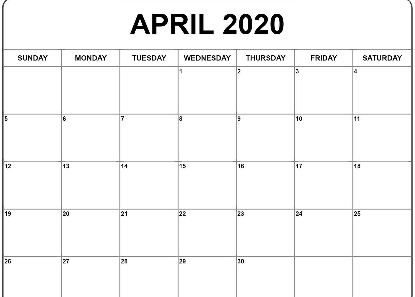 April 2020 Calendar Blank Template