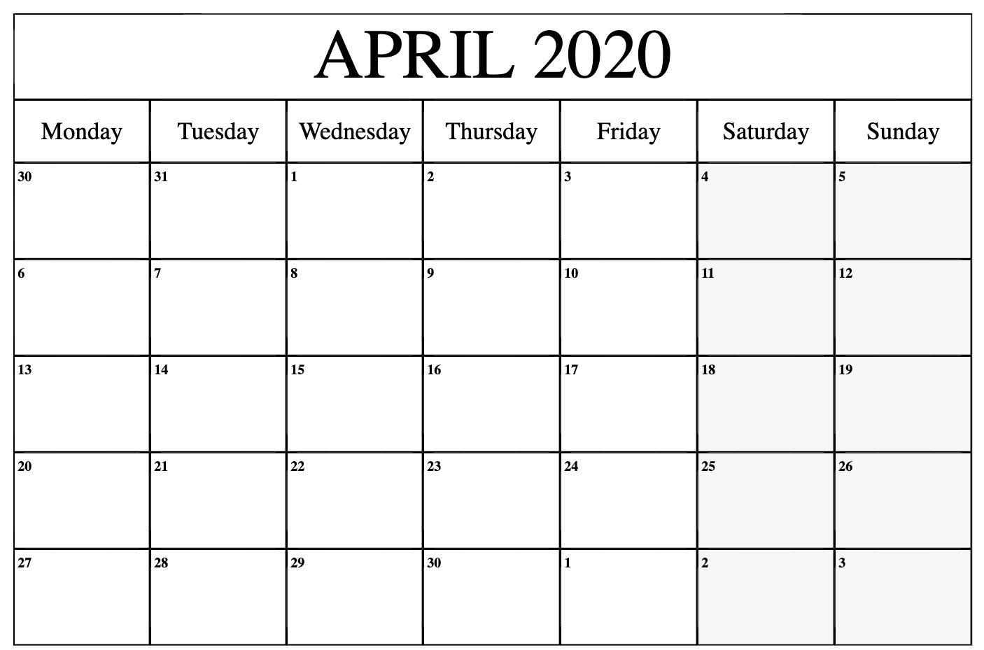April Printable Calendar 2020.Free April Calendar 2020 Free Printable Template Pdf Word Excel