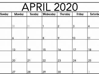 Blank April 2020 Calendar Template