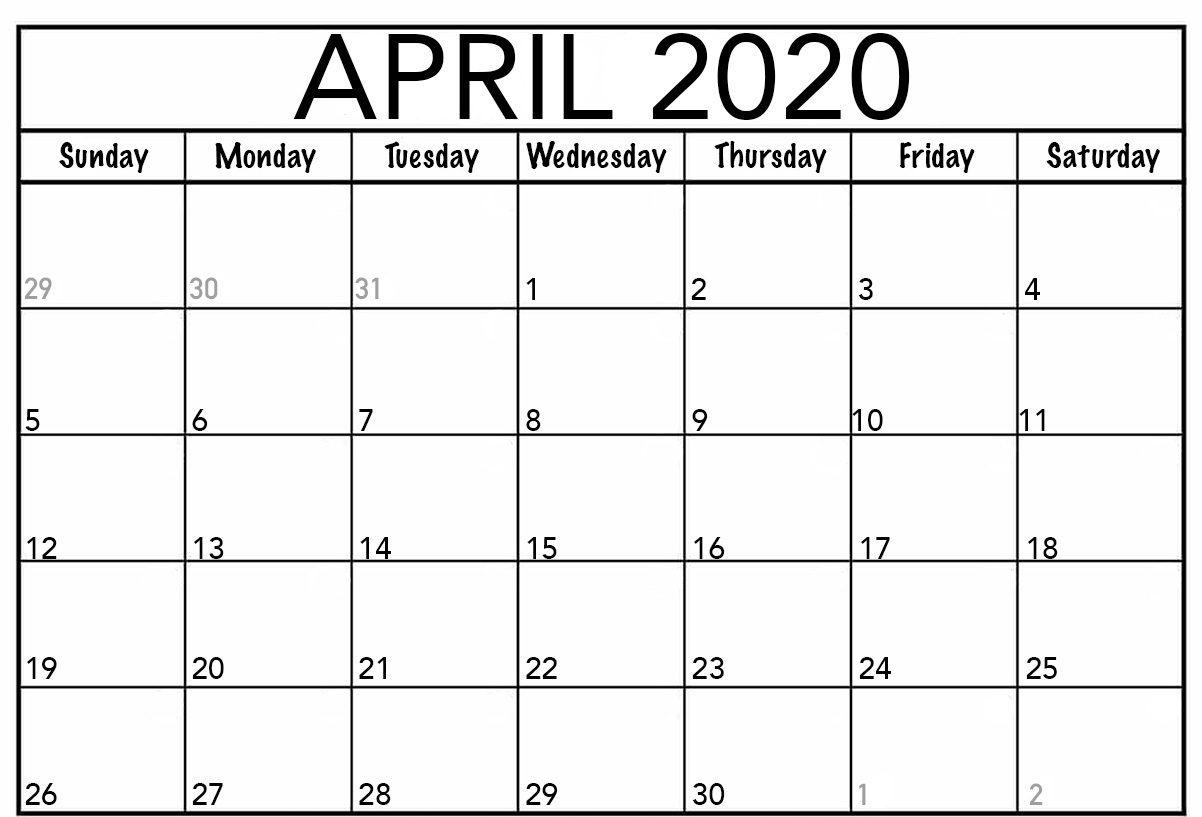 April 2020 Calendar Printable.Free April Calendar 2020 Free Printable Template Pdf Word Excel