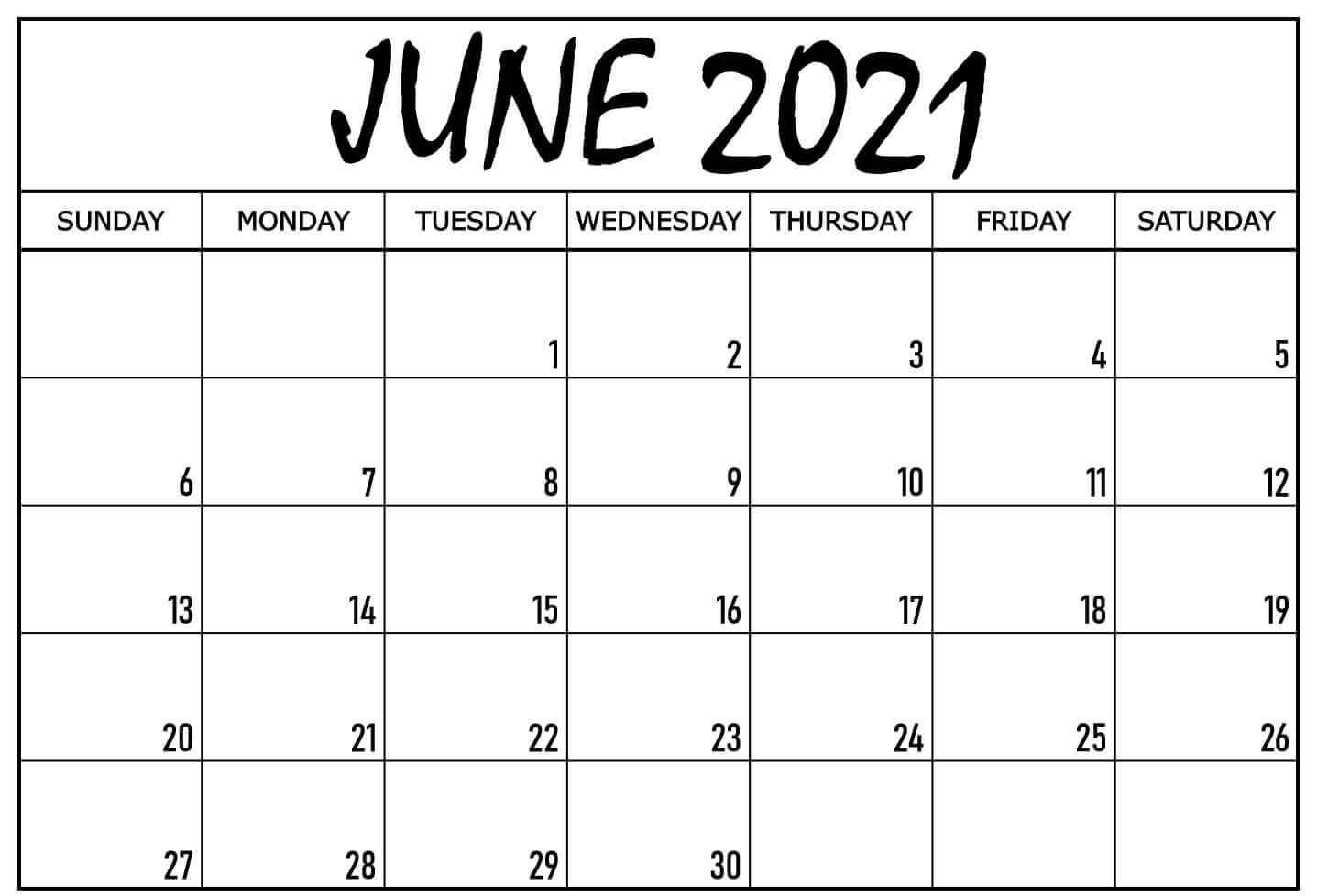 Blank Calendar Template June 2021