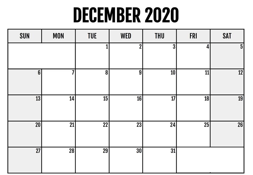 Blank December 2020 Editable Calendar