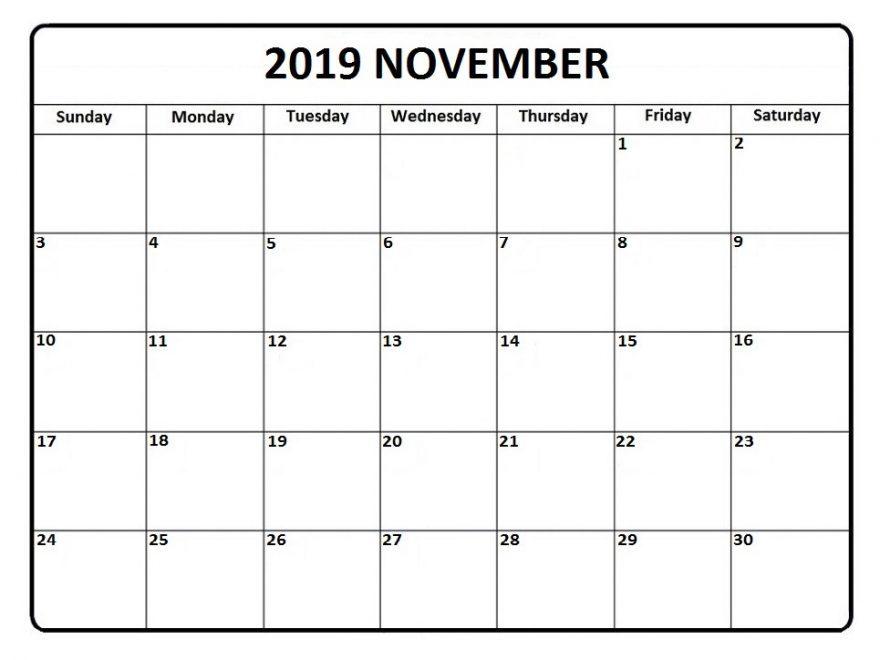 Blank Fillable November Calendar 2019