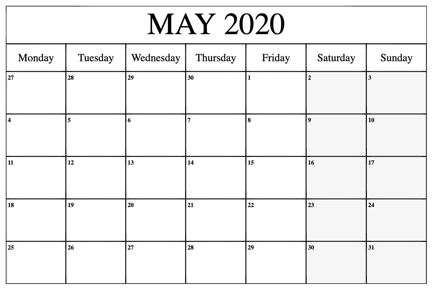 Blank May 2020 Calendar Printable Template