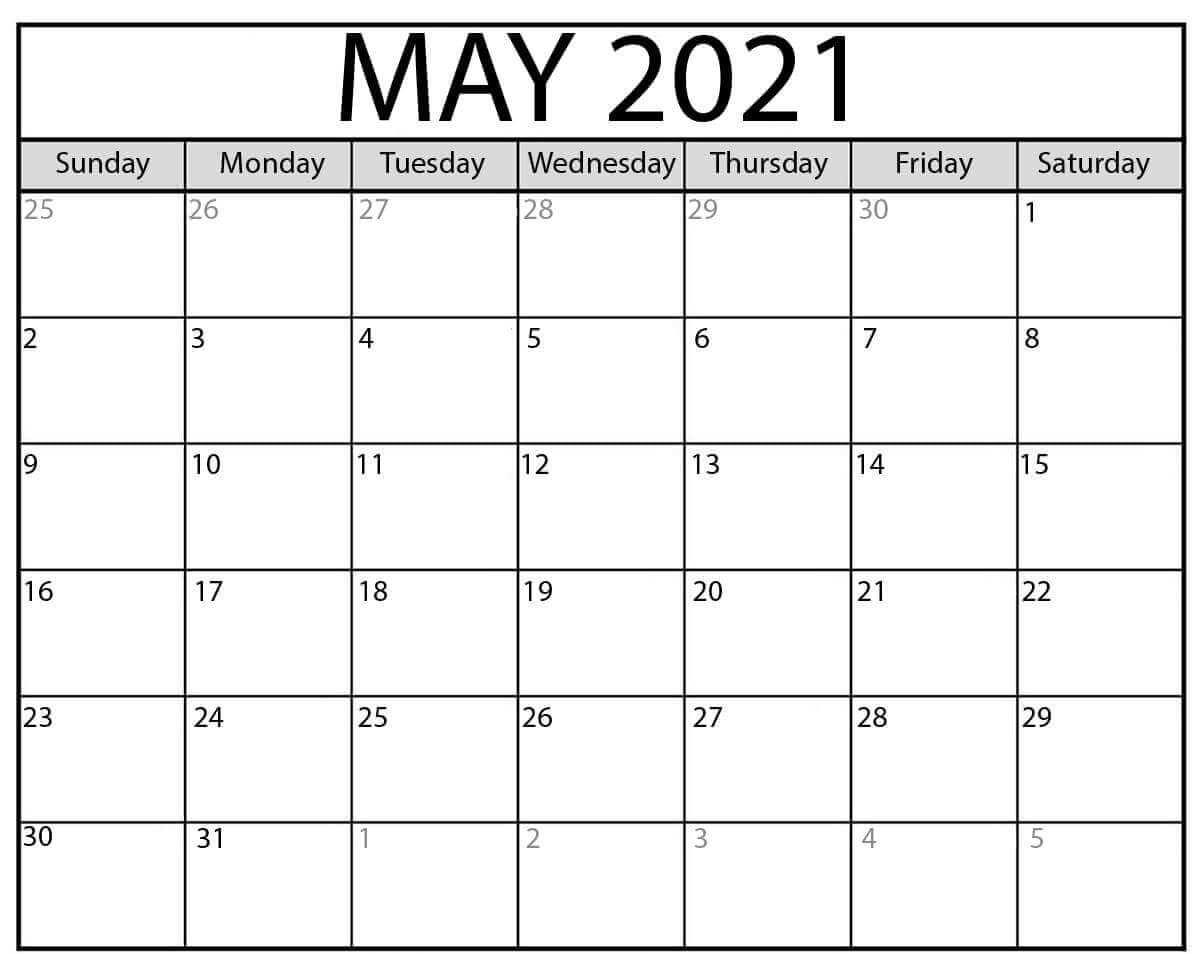 Blank May 2021 Printable Calendar