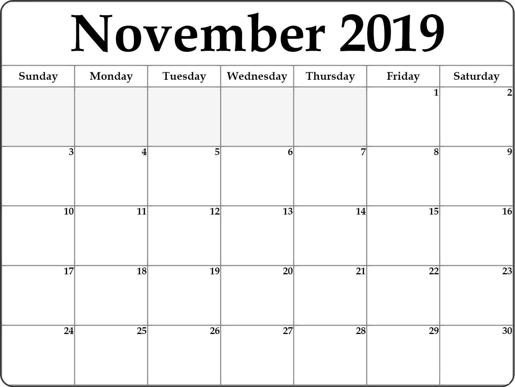 Blank November 2019 Calendar Fillable Template