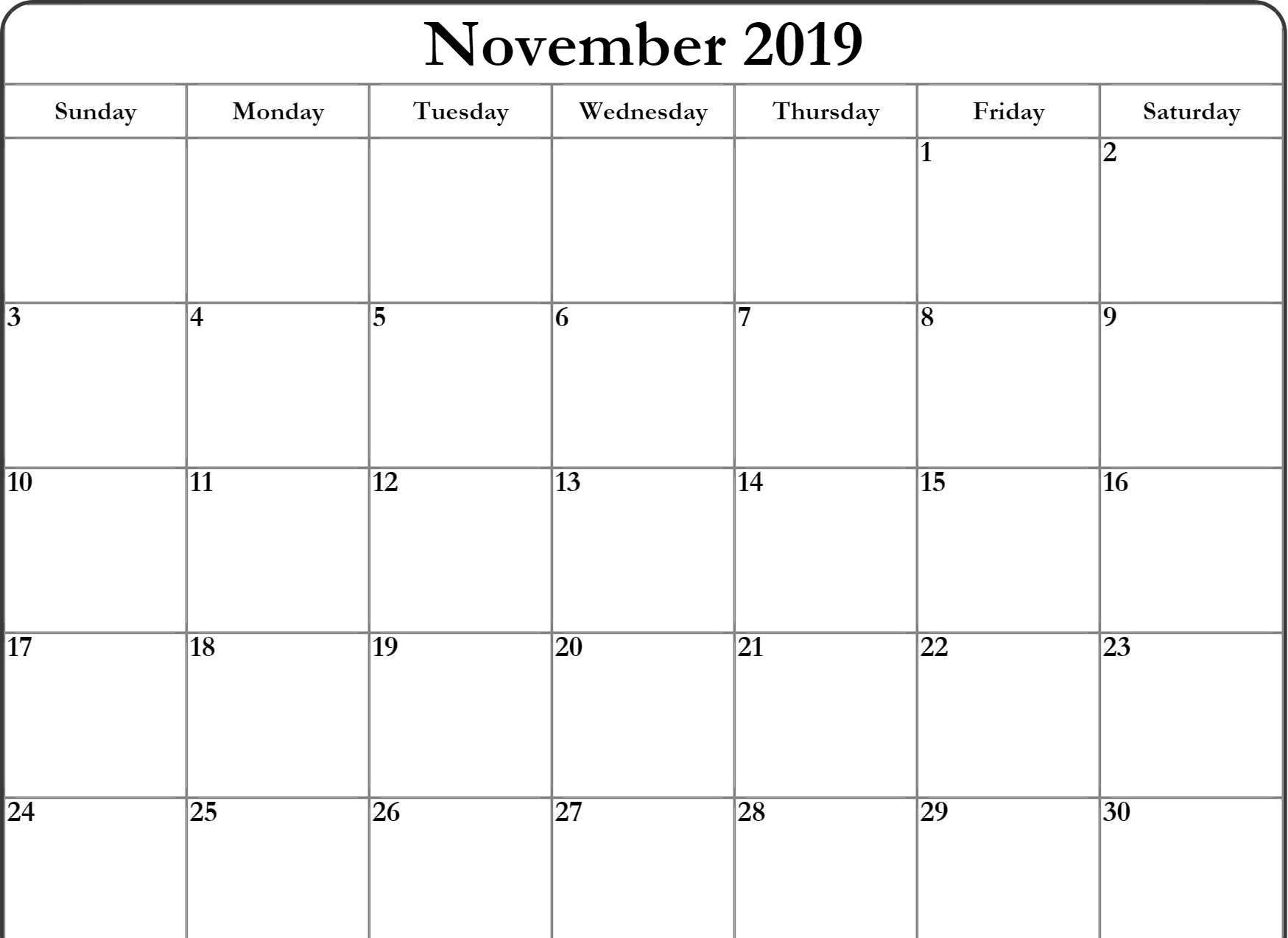 Blank November 2019 Calendar Lunar