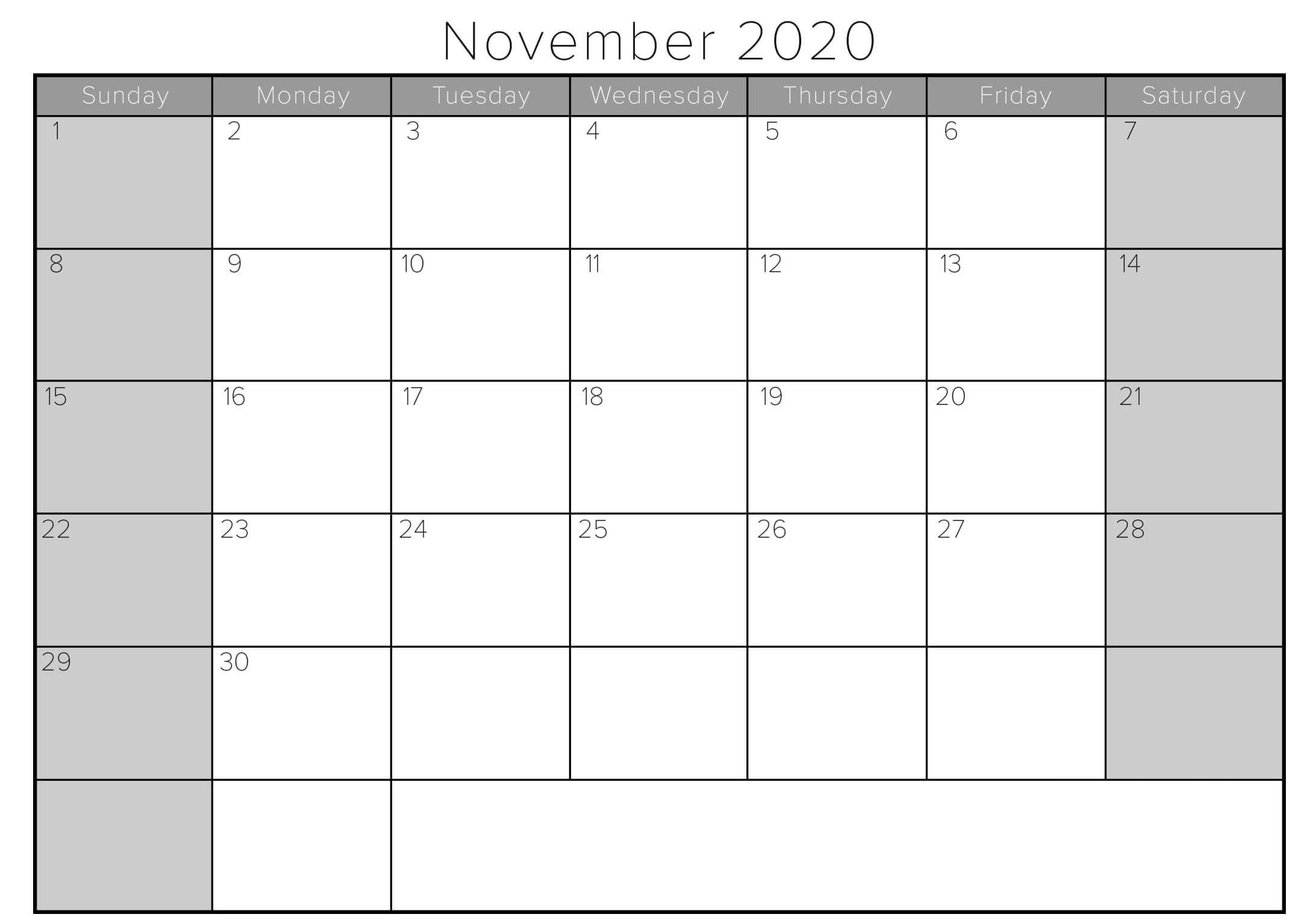 Blank November 2020 Calendar Fillable