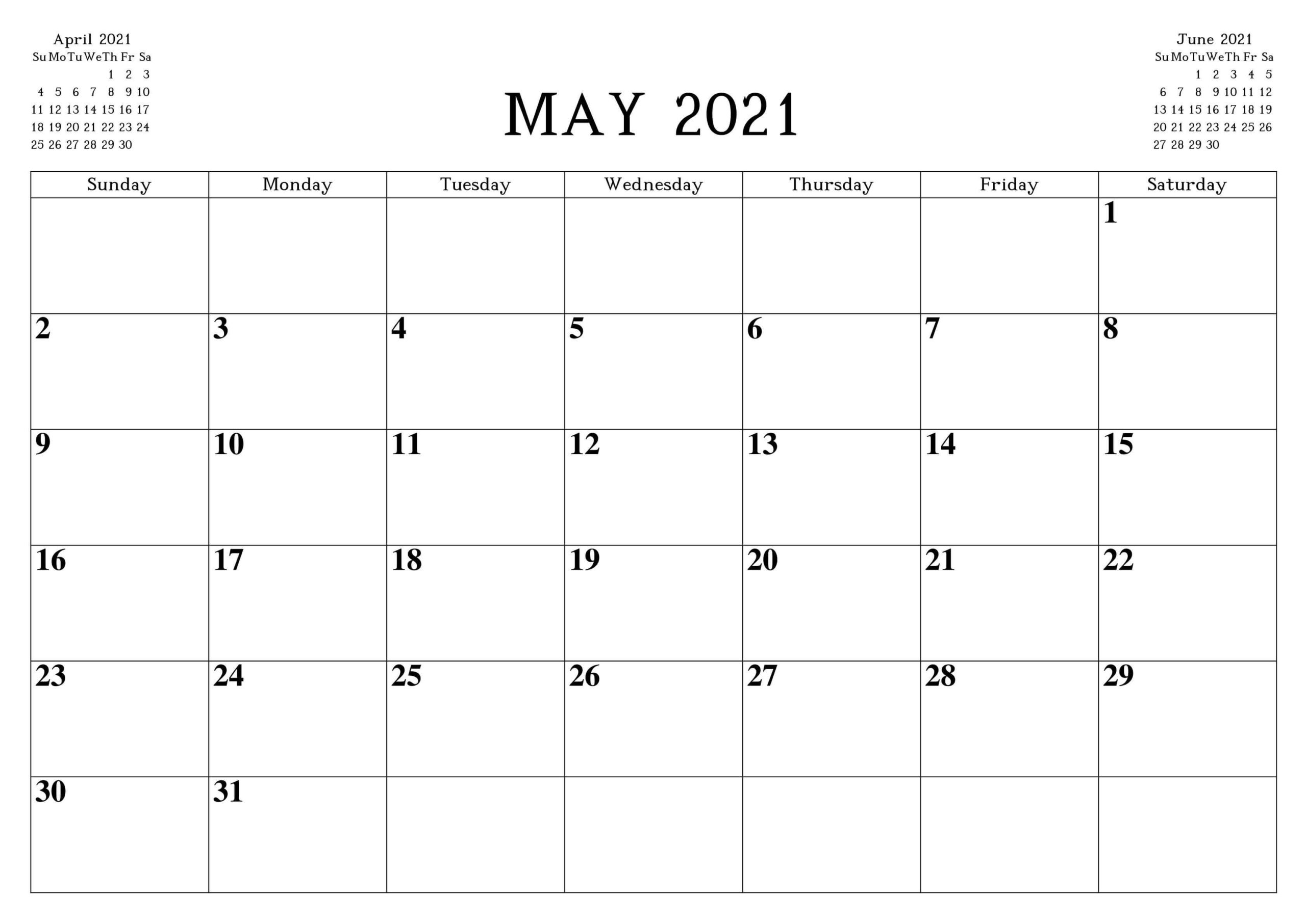 Calendar For May 2021