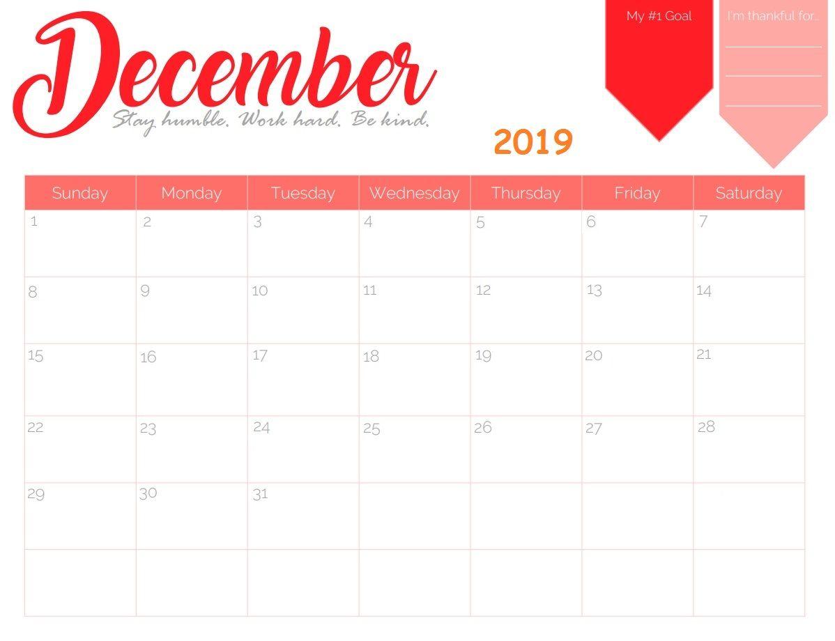 Cute December 2019 Calendar