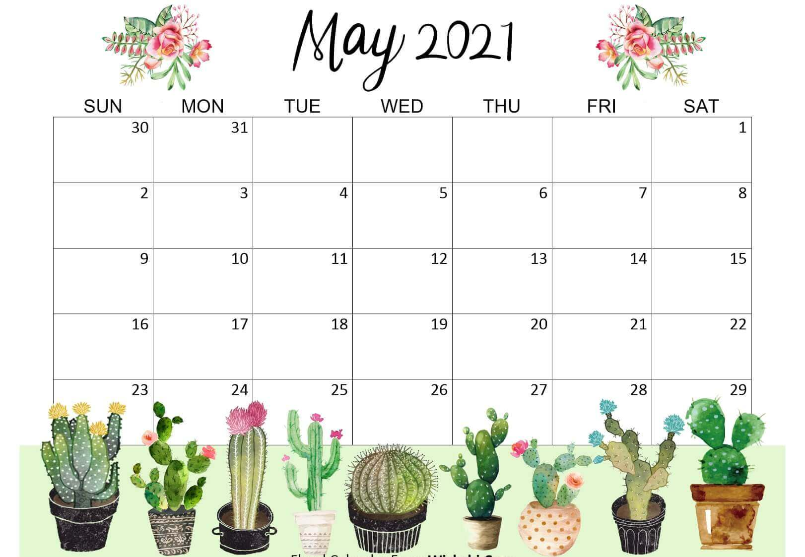 Cute May 2021 Floral Calendar Wallpaper