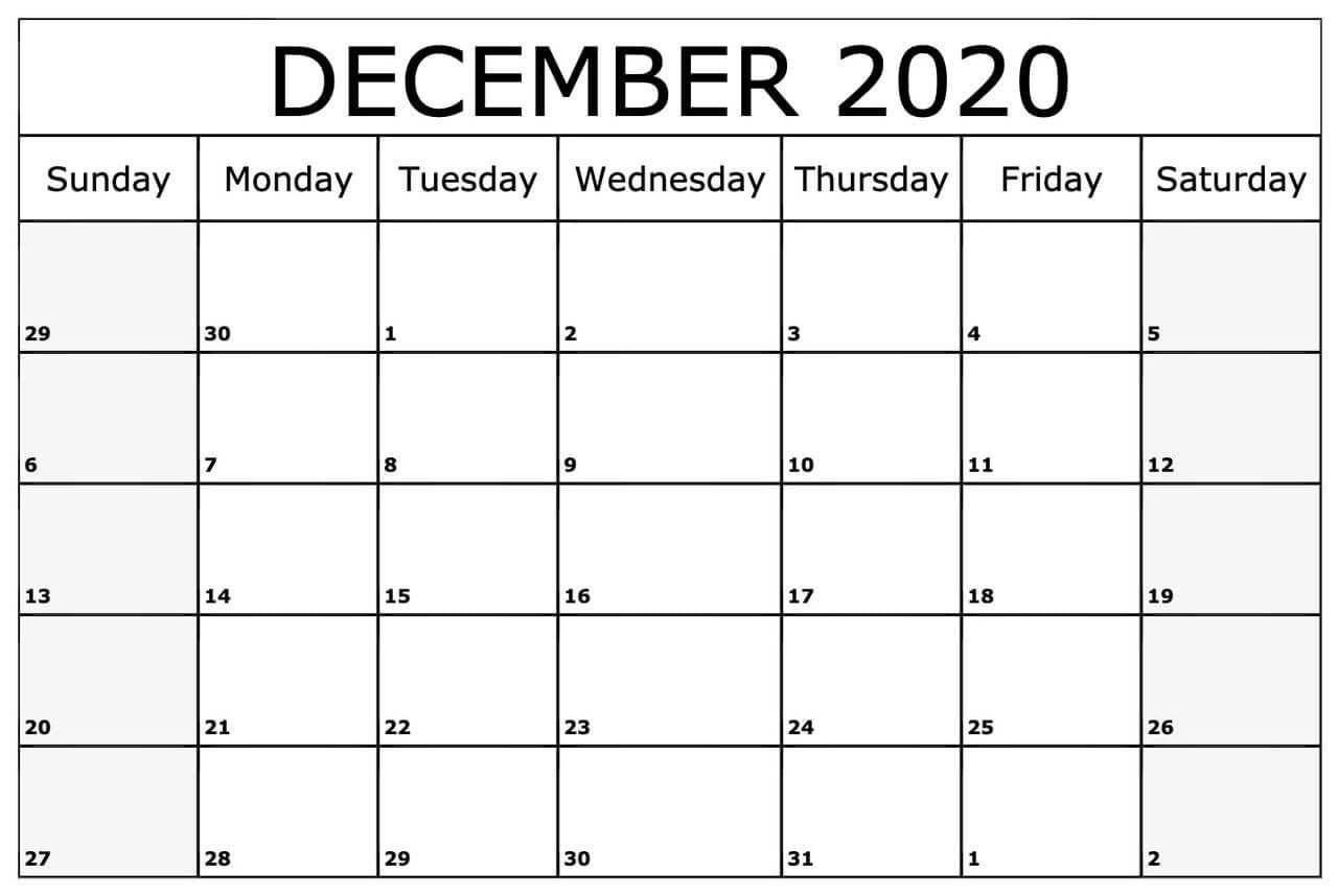 Editable Calendar Template December 2020